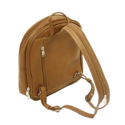 Piel Leather Entrepreneur Small Multi-Compartment Backpack in Saddle