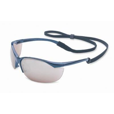 Vapor® Safety Glasses With Metallic Blue Frame And Silver Mirror Hard Coat Lens