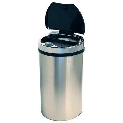 iTouchless 13 Gallon Semi-Round Extra-Wide Opening Touchless Trash Can in Brushed Stainless Steel Silver