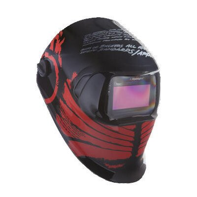 Hornell Speedglas Black And Red Tribal Design Welding Helmet 100 With Variable Shade 40402 Auto-Darkening Lens