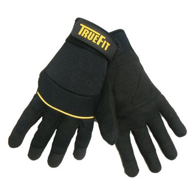 Black TrueFit™ Lightweight Synthetic Leather Gloves With Reinforced Leather Palm And Finger ...
