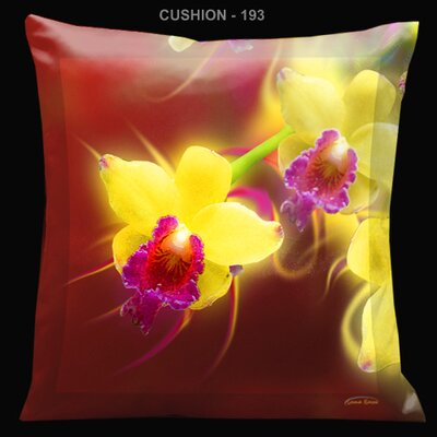 "Lama Kasso Exotic Asia Yellow and Red 18"" Square Satin Pillow"