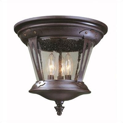 World Imports Old World Charm 3 Light Outdoor Flush Mount