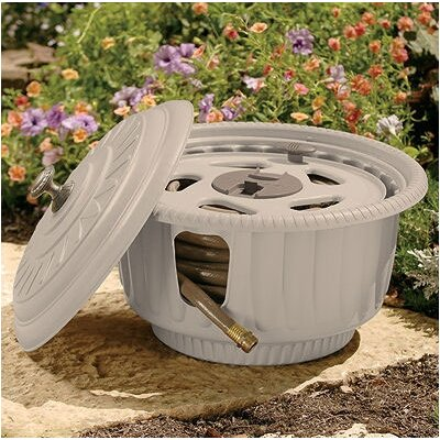 Suncast Decorative Hose Reel Pot in Taupe