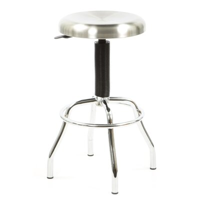 Workstool 01 Adjustable Work Stool with Swivel Seat in Chrome