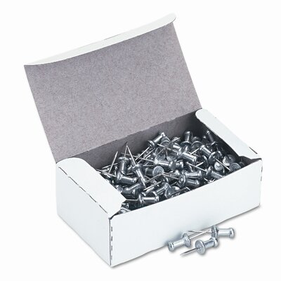 "Gem Office Products, LLC. Aluminum Head Push Pins, Steel 1/2"" Point, Silver, 100 per Box"