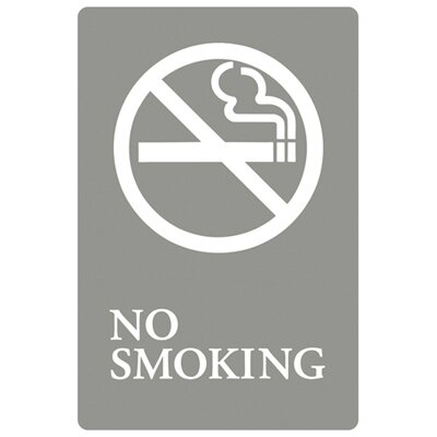 Headline Signs® No Smoking Symbol Tactile Graphic ADA Wall Sign in Gray and White