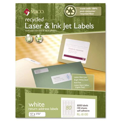 Maco Tag & Label Recycled Laser and InkJet Labels, 1/2 x 1 3/4, White, 8000/Box