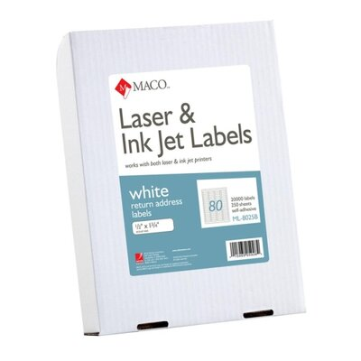 Maco Tag &amp; Label Return Address Labels, 1/2&quot;x1-3/4&quot;, 20000/BX, White