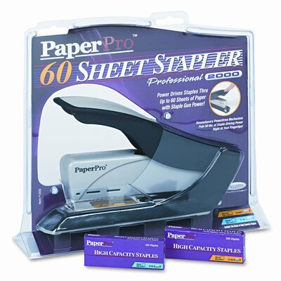 PaperPro Heavy-Duty Stapler, 60 Sheet Capacity, Black/Silver