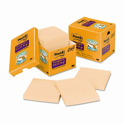 Post-it® Super Sticky Note Pad, 12 90-Sheet Pads/Pack