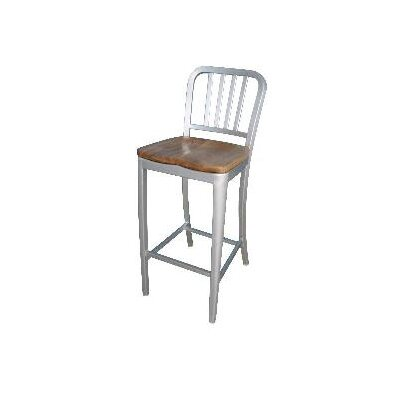 Aluminum Bar Stool with Natural Wood Seat