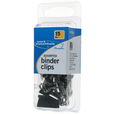 Swingline 15 Pack Assorted Binder Clip