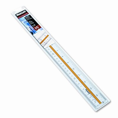 "Westcott Highlighting Data Beveled Plastic Ruler, 15"", Clear/Yellow Panel"