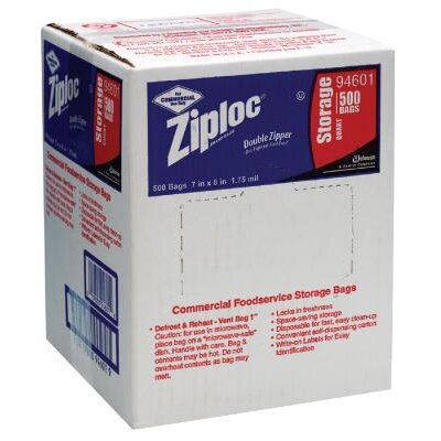 "Ziploc® 7"" x 8"" Double Zipper Food Bags in Clear"