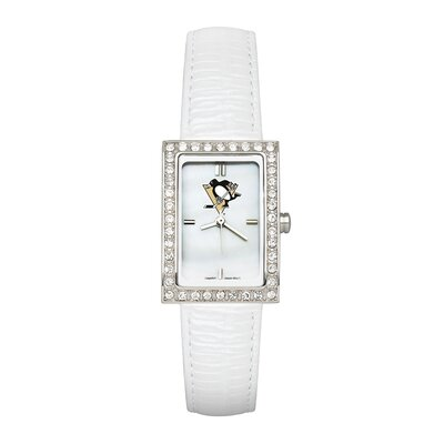 LogoArt® NHL Ladies Fashion Watch with White Leather Strap
