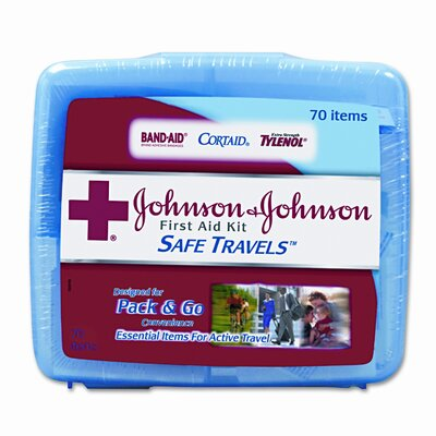 BAND-AID Johnson and Johnson Red Cross Portable Travel First Aid Kit, 70 Pieces