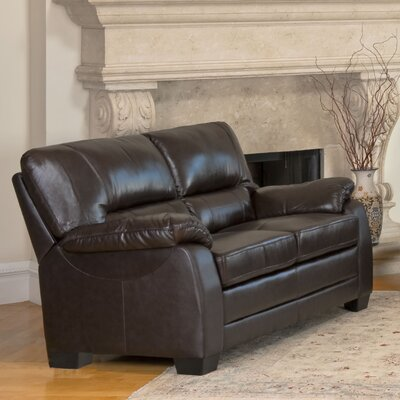 Abbyson Living Broadway Italian Leather Leather Loveseat