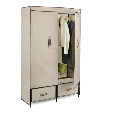 Honey Can Do Double Door Wardrobe in Light Brown