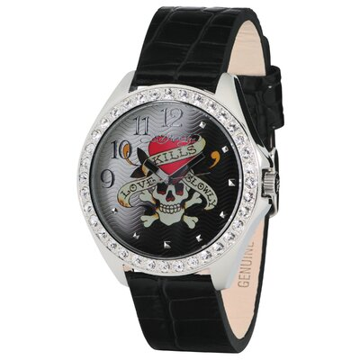 Ed Hardy Women's Starlett Love Kills Watch in Black