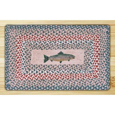 Earth Rugs Green/Burgundy Fish Novelty Rug