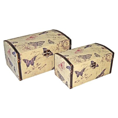 Cheungs Rectangular Butterfly Box with Vinyl Trim (Set of 2)