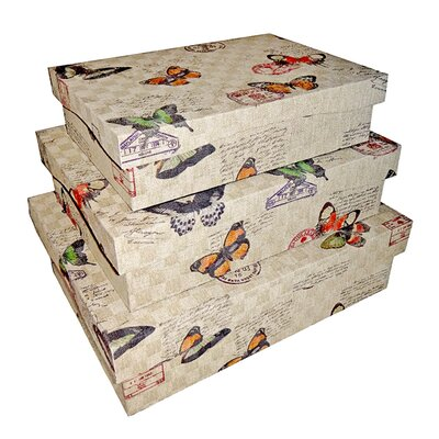 Cheungs Rectangular Box with Butterflies (Set of 3)