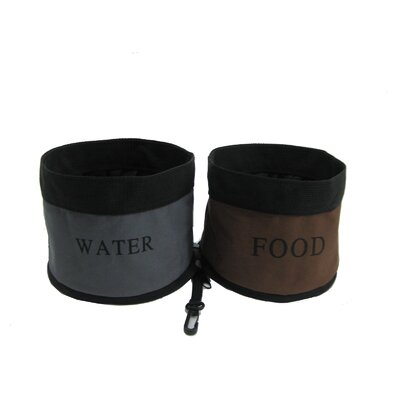Pet Life Zippered Double Pet Bowl for Travel