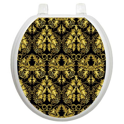 Toilet Tattoos Toilet Seat Applique with Rococo Black and Gold Design