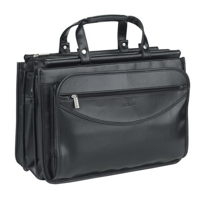 SOLO CASES Leather Look Triple Compartment Portfolio