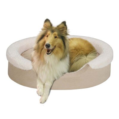 Soft Touch Tan Faux Suede Oval Cuddler Pet Bed with Ivory Microberber
