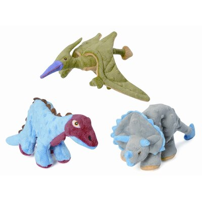 Go Dog Mini Dinos Frills Triceratops Dog Toy with Chew Guard in Grey