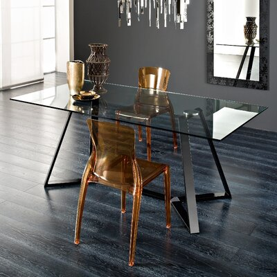 Domitalia Archie Rectangular Table with Crystal Chairs