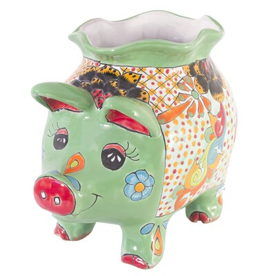Novica Castillo Family Artisan Spring Piggy Ceramic Flower Pot