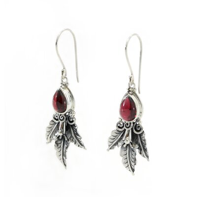 The Buana Artisan Garnet Temptation Dangle Earrings