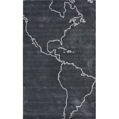 nuLOOM Cine Map Grey Novelty Rug
