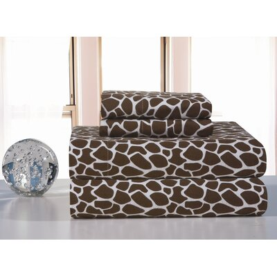 Heavy Weight Printed Flannel Sheet Set in Chocolate Giraffe Print