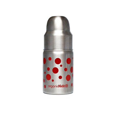 Nine Ounce Wide Mouth Stainless Steel Baby Bottle in Red Dots