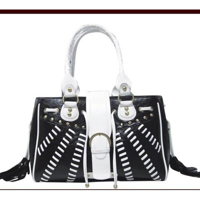 Backbone Pet Faux Leather Handbag Pet Carrier in Black and White