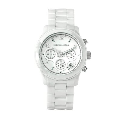 Women's Classic White Ceramic Bracelet Watch with Chronograph Dial