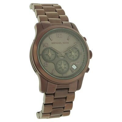 Michael Kors Women's Runway Stainless Steel Watch with Brown Chronograph Dial