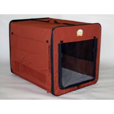 Go Pet Club Soft-Sided Dog Crate with Mat in Brown