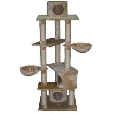"Go Pet Club 72"" Plywood Cat Tree in Beige"