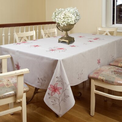 Violet Linen Lilies Embroidered Design Tablecloth