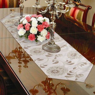 Violet Linen Legacy Damask Design Table Runner