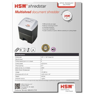 "HSM of America,LLC Multishred Shredder, Cross Cut, 9-1/2""x7-1/2""x11-1/4"", Silver/Brown"
