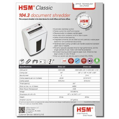 "HSM of America,LLC Heavy-Duty Desk Side Shredder, Cross Cut, 14-7/""x11""x23""10, White"