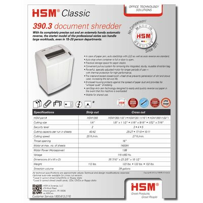 "HSM of America,LLC Shredder, Strip-Cut, 42 Sheet Cap, 23""x18""x35"", White"