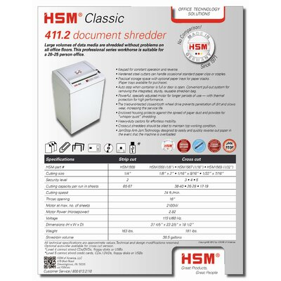 "HSM of America,LLC Professional Shredder, Cross Cut, 23-2/5"" x 18-1/2"" x 37-4/5"", Beige"
