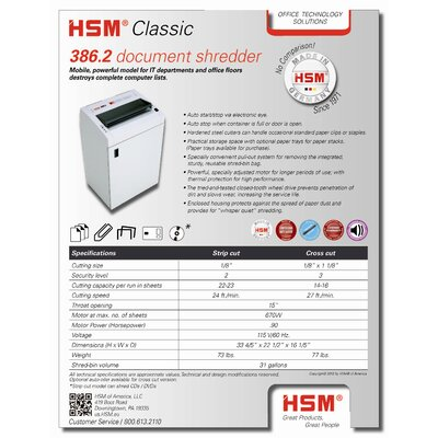 HSM of America,LLC HSM Classic 386.2c, 14-16 sheets, cross-cut, 31 gal. capacity